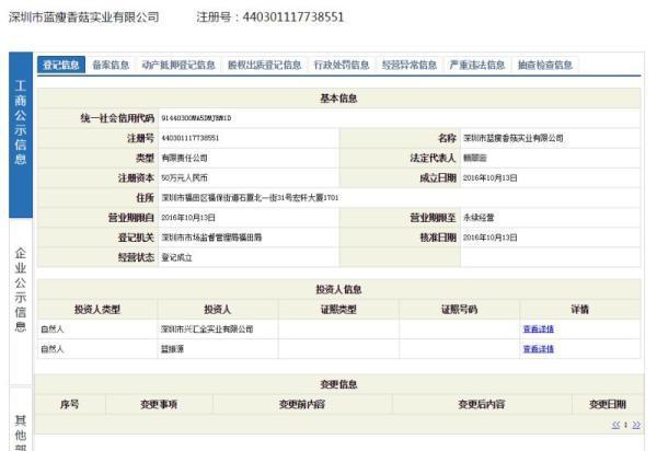 """""""蓝瘦香菇""""被抢注:系深圳公司 注册资本50万"""